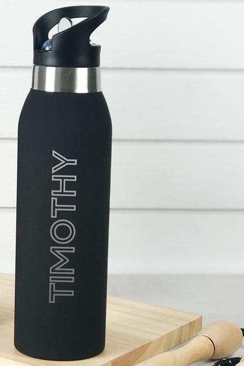 Personalised 500ml Stainless Steel Sports Flip Top Water Bottle
