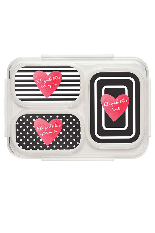 Personalised Stripe & Heart Bento Lunch Box