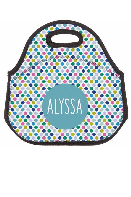 Personalised Spotty Neoprene Lunch Bag