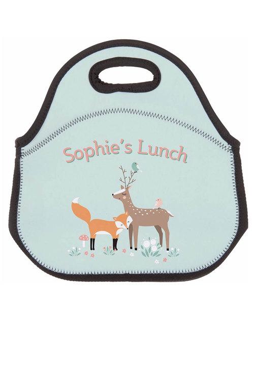 Personalised Fox & Reindeer Neoprene Lunch Bag