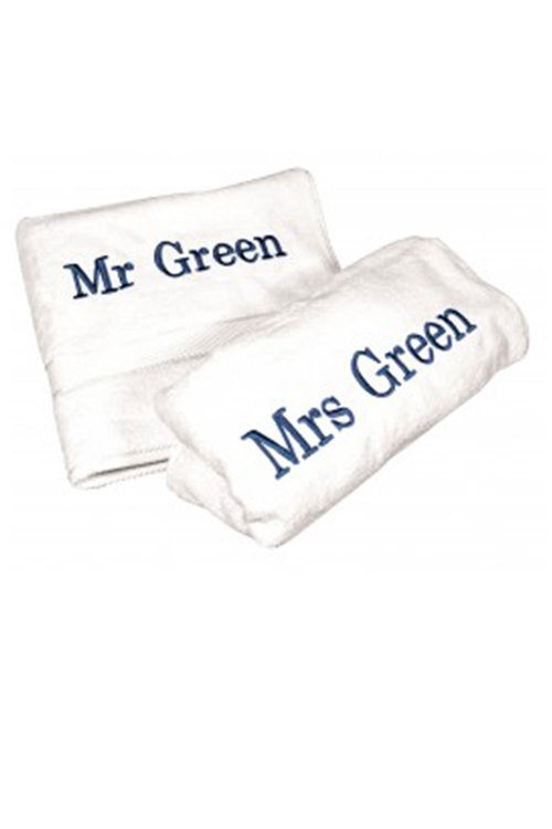Personalised His and Hers Plain Towel Pack
