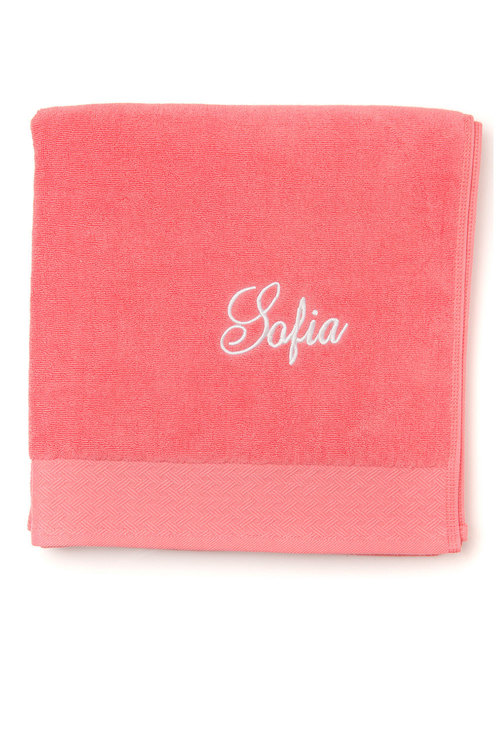 Personalised 100% Cotton Coral Bath Towel
