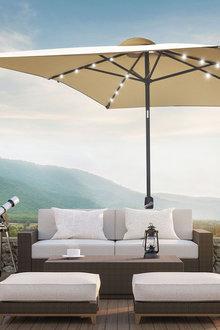 Arcadia Furniture Outdoor 3 Metre Garden Umbrella with In-Built Solar LED - 281476