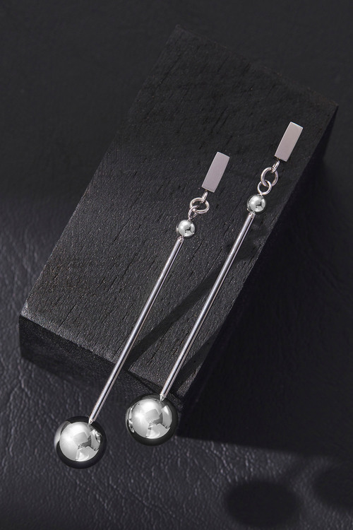 By Fairfax & Roberts Contemporary Long Drop Ball Earrings