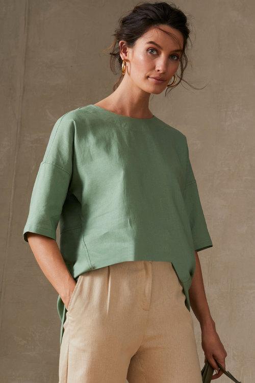 Grace Hill Linen Blend Button Back Top
