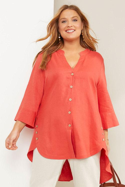 Sara Linen Longline Button Shirt