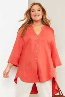 Sara Linen Longline Button Shirt - 281711