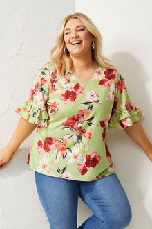 Sara Ruffle Sleeve Top - 281725