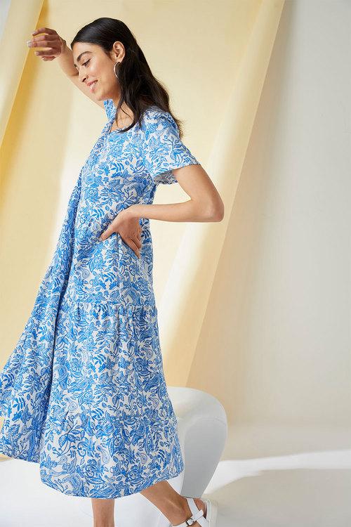 Emerge Linen Blend Tiered Midi Dress