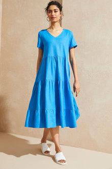 Emerge Linen Blend Tiered Midi Dress - 281805