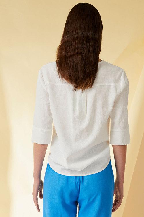 Emerge Linen Blend Button Cuff Top