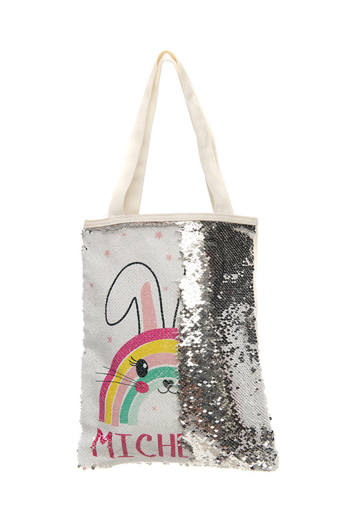 Personalised Choose-A-Design Silver Sequin Tote Bag