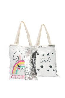 Personalised Choose-A-Design Silver Sequin Tote Bag - 281828