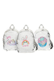 Personalised Choose-A-Design Silver Sequin Backpack - 281829