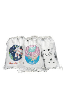 Personalised Choose-A-Design Silver Sequin Drawstring Bag - 281830