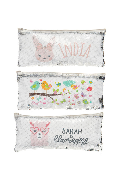 Personalised Choose-A-Design Silver Sequin Pencil Case