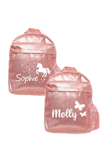 Personalised Sparkle Medium Pink Backpack - 281832