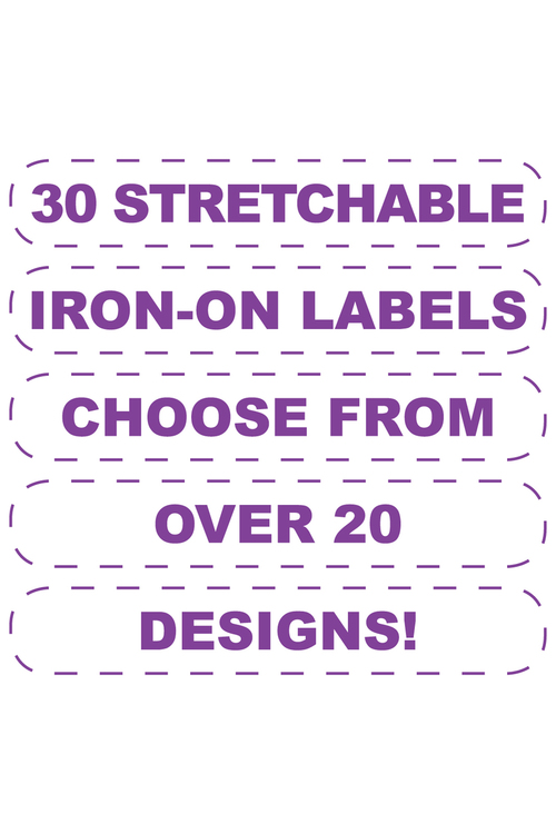 Personalised 30 Stretchable Iron-On Value Labels Pack