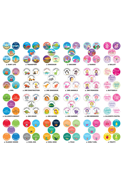 Personalised 30 Round Name Labels Pack