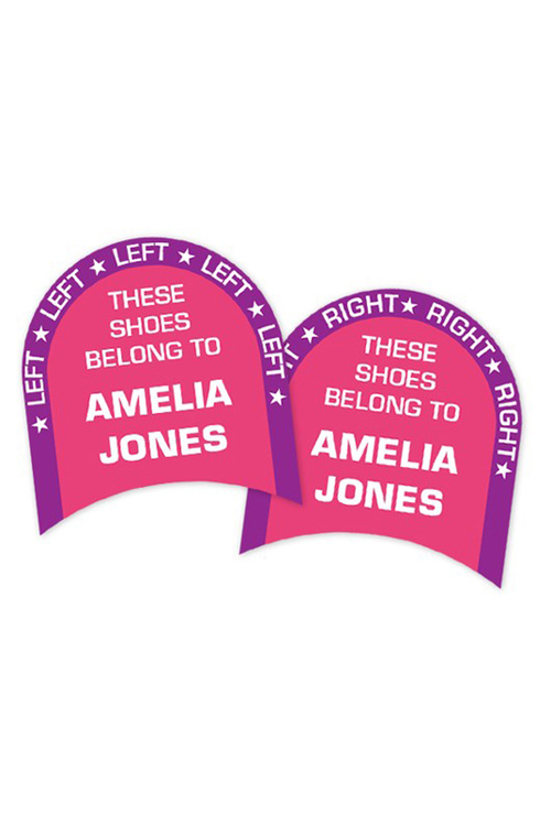 Personalised 24 Pink Left & Right Shoe Labels Pack