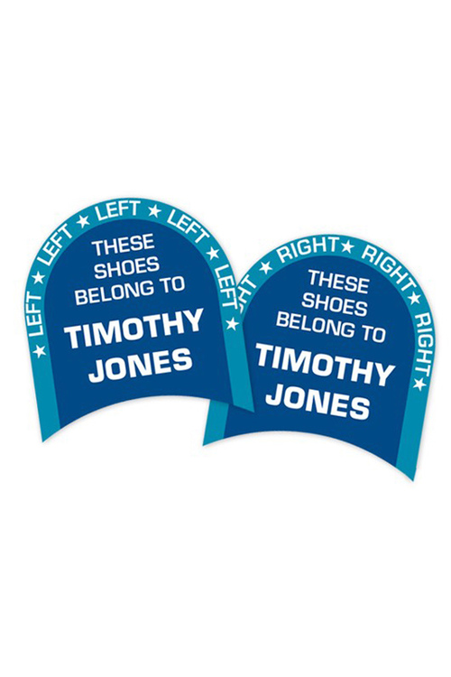 Personalised 24 Blue Left & Right Shoe Labels Pack