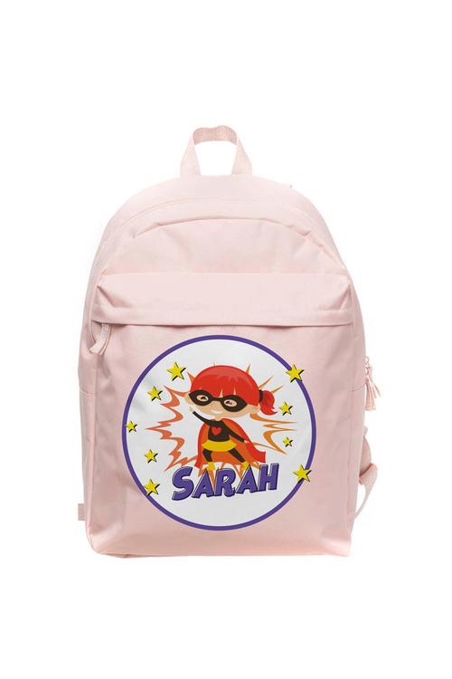 Personalised Lil Super Stars Large Pale Pink Backpack