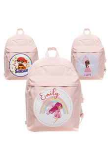 Personalised Lil Super Stars Large Pale Pink Backpack - 281913