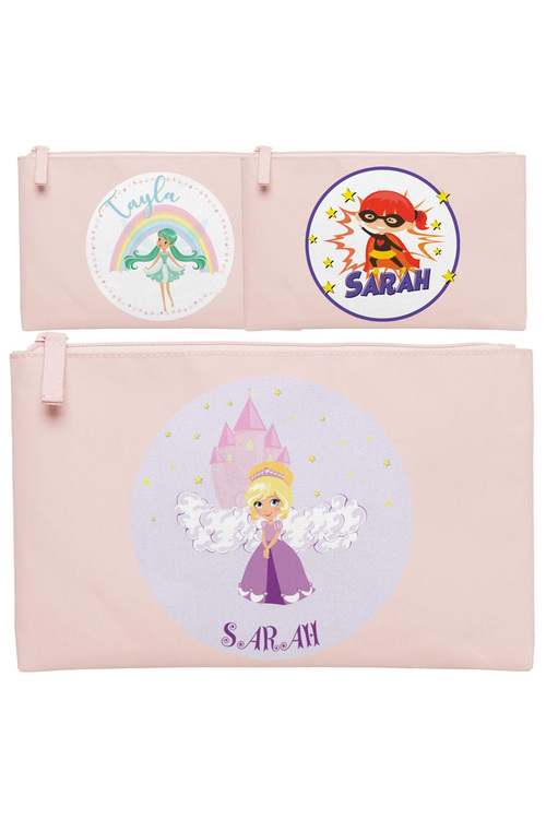 Personalised Lil Super Stars Small Pale Pink Pencil Case