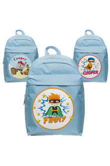 Personalised Lil Super Stars Large Pale Blue Backpack - 281961