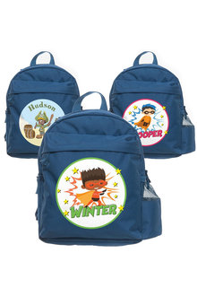 Personalised Lil Super Stars Medium Navy Blue Backpack - 281963