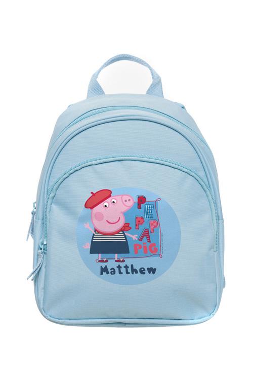 "Personalised Peppa Pig George ""Travel"" Mini Pale Blue Backpack"