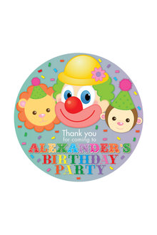 Personalised 12 Circus Party Thank You Round Name Labels Pack - 281988