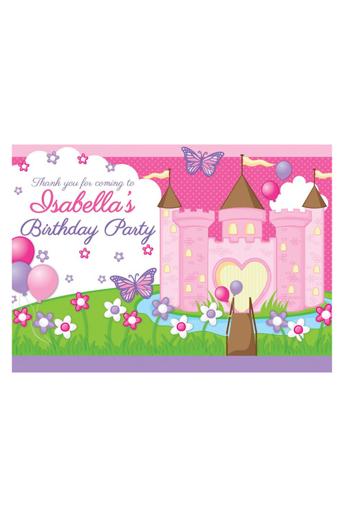 Personalised Princess Party Thank You Cards 12 Pack