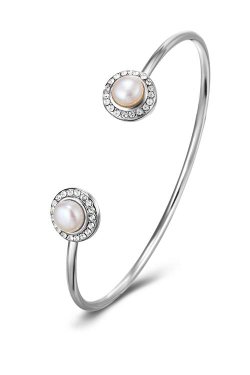 Mestige Ayla Bangle with Swarovski® Crystals and Freshwater Pearls