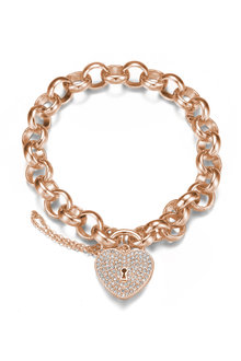 Mestige Rose Gold Heart-throb Bracelet with Swarovski® Crystals - 282462