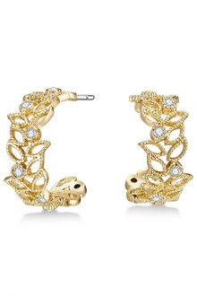 Mestige Golden Filigree Earrings with Swarovski® Crystals - 282484
