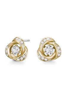 Mestige Golden Rosette Earrings with Swarovski® Crystals - 282502