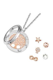 Mestige Holy Tree of Life Dual Floating Charm Necklace with Swarovski® - 282509