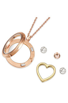 Mestige Rose Gold Inner Love Floating Charm Necklace with Swarovski® - 282510