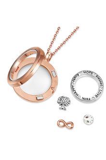 Mestige Rose Gold Words of Love Floating Charm Necklace with Swarovski® - 282511