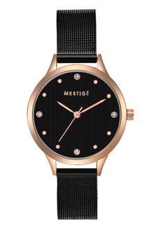 Mestige The Everleen in Black and Rose Gold with Swarovski® Crystals - 282553