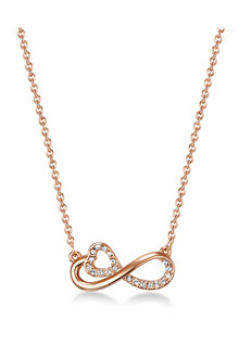 Mestige Rose Gold Endless Love Necklace with Swarovski® Crystals - 282584