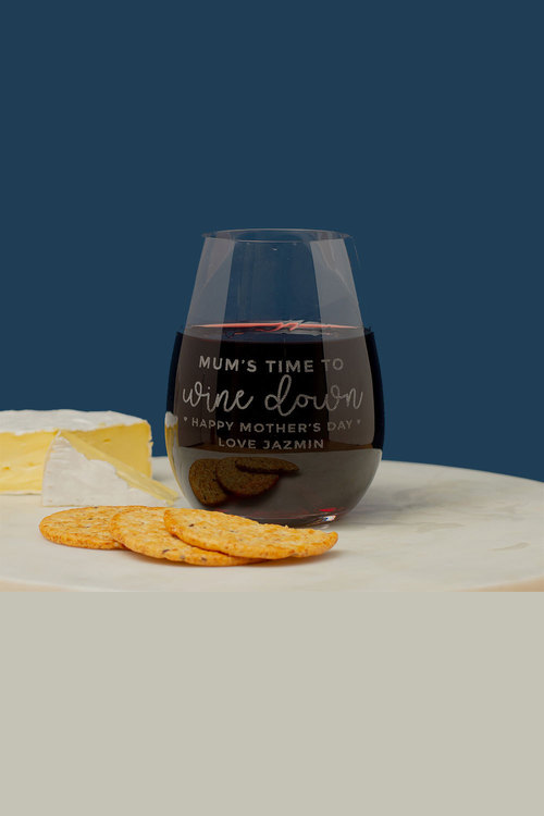Personalised Mum's Time to Wine Down Stemless Wine Glass