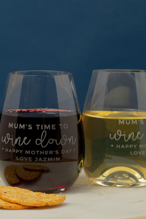 Personalised Mum's Time to Wine Down Stemless Wine Glass Set of Four