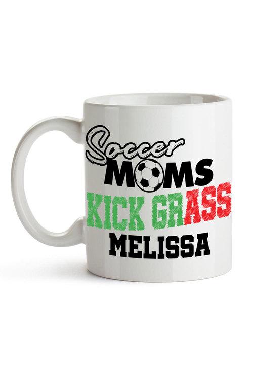 Personalised Soccer Mums Kick Grass Ceramic Mug