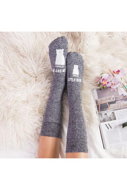 Personalised Mumma Bear Socks One Baby Bear Grey