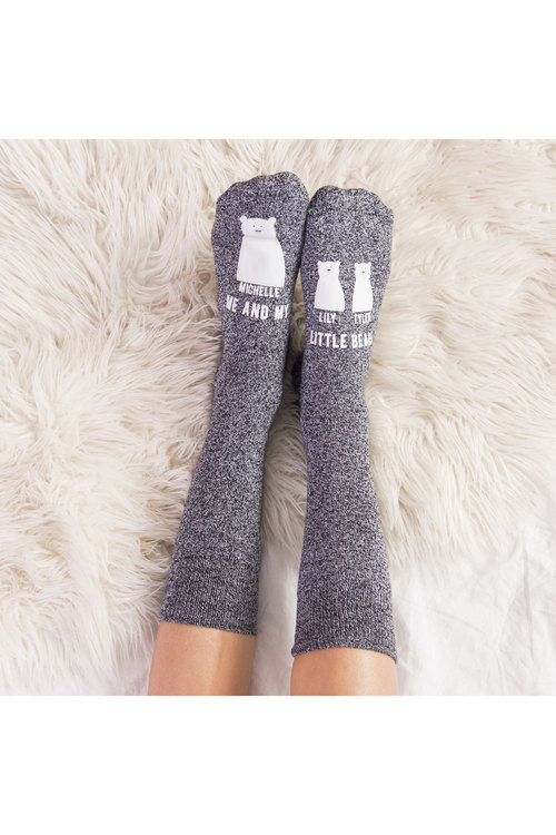 Personalised Mumma Bear Socks Two Baby Bears Grey