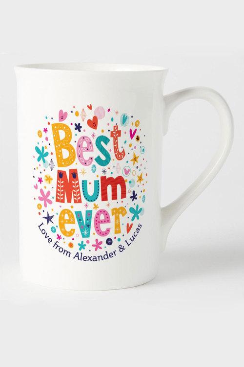 Personalised Best Mum Ever Bone China Mug