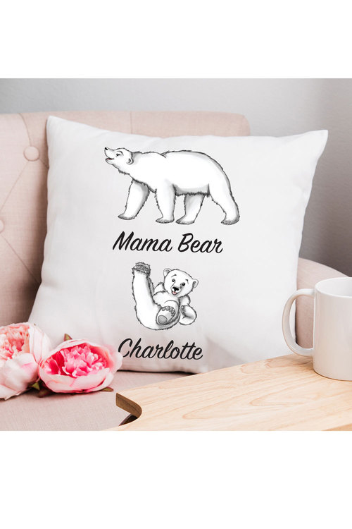Personalised Mumma Bear Cushion Cover With One Baby Bear