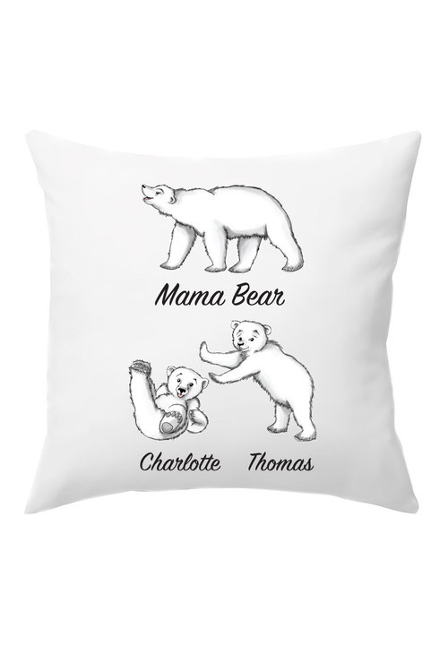 Personalised Mumma Bear Cushion Cover With Two Baby Bears